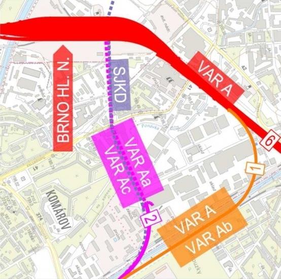 Železniční uzel Brno vevariantěA, vpodvariantách AaaAc